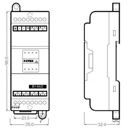 Extensie dreapta Fatek B1-6AD cu 6 intrări analogice