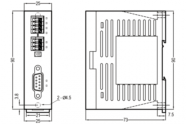 Extensie stânga modul comunicare Fatek FBs-CM25