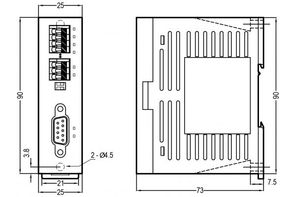 Extensie stânga modul comunicare Fatek FBs-CM55